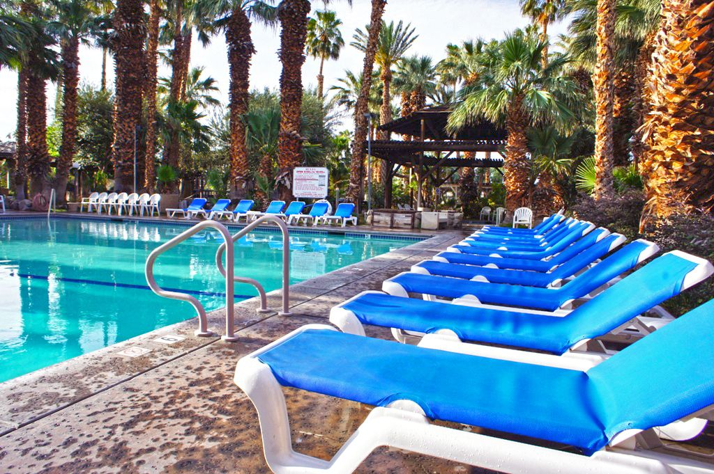 Comfy lounge chairs by our refreshing swimming pool
